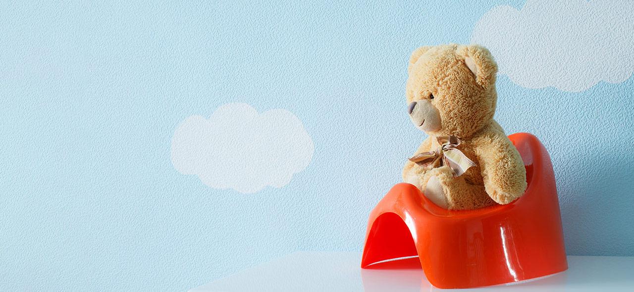 Teddybär auf dem Töpchen